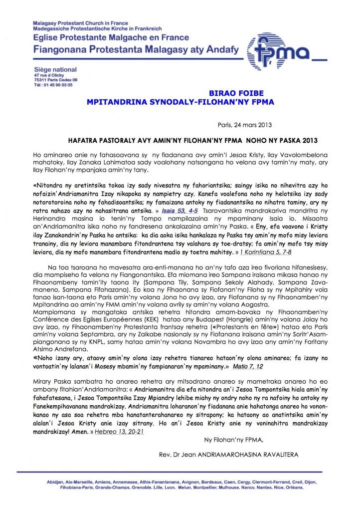 HAFATRA PASTORALY PASKA 2013