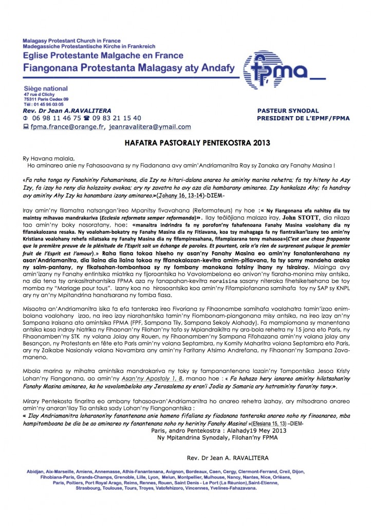 HAFATRA PASTORALY PENTEKOSTRA 2013