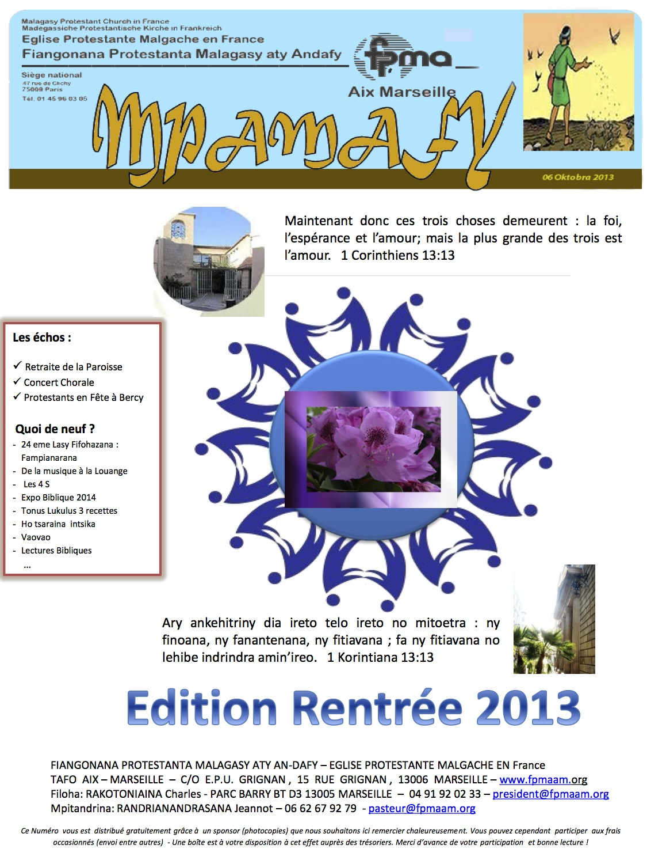 MPAMAFY RENTREE SEPT 2013